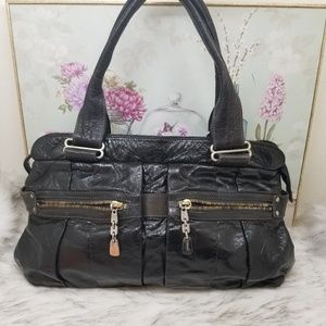 See by Chloé large black patent leather purse